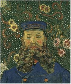 Portrait of the Postman Joseph Roulin Vincent Van Gogh Painting, Oil on Canvas  Arles: April, 1888 http://www.vangoghgallery.com/catalog/Painting/2128/Portrait-of-the-Postman-Joseph-Roulin.html