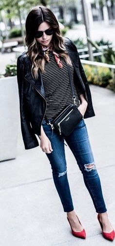 casual style addict black jacket + top + ripped jeans + heels