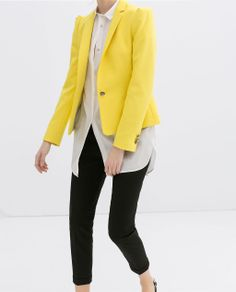 Image 4 of BLAZER WITH GATHERED SHOULDERS from Zara. Yellow with black and white, classic shapes with refined sandals.