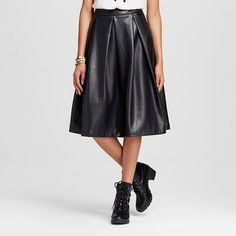 Women's Faux Leather Birdcage Skirt Black 2 - Who What Wear ™ : Target