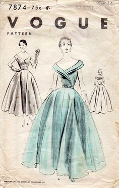 1950s Ball Gown with Full Skirt Vintage Sewing by BessieAndMaive, $75.00