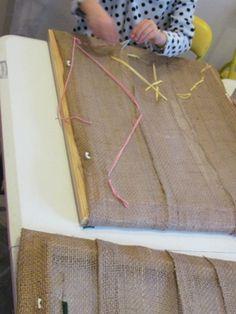 Pic frame w/o glass, burlap stapled on, plastic needles and yarn...fine motor skills!