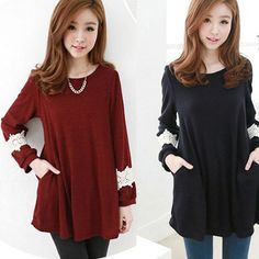 Women's Korean Fashion Loose Tops Long Sleeve Shirt Cotton Tunic Casual Blouse #Other #Blouse #Casual