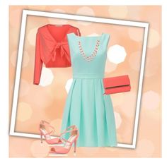 """""""peach and turquoise"""" by caitlin-ross-1 on Polyvore featuring concept k, Kate Spade, Miss KG, Anne Klein and Mundi"""