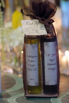 Olive Oil And Quality Balsamic As Wedding Favors