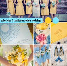 baby blue and sunflower yellow weddings
