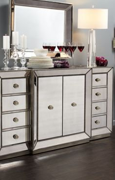 The Omni Mirrored Buffet Demonstrates A Striking Use Of Style U0026 Restraint.  Featuring Clean Lines, Hand Applied Silver Leaf U0026 Silver Beaded Trim.