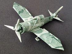 de origami Zero Fighter Plane - Money Origami Dollar Bill Cash Sculptors Bank Note Handmade Airplane Zero Fighter Plane - Money Origami by Vincent-the-Artist on Zibbet Origami Ball, Origami Star Box, Origami 3d, Origami Dragon, Money Origami, Origami Folding, Origami Design, Origami Stars, Origami Plane