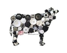Button Art Kitchen Cow Black White Holstein Cattle by BellePapiers