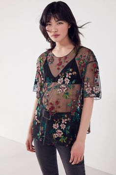 Shop Kimchi Blue Alana Floral Embroidered Sheer Tee at Urban Outfitters