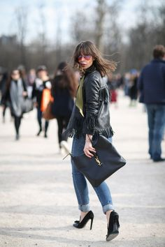 84 Outfit Ideas For Style Extroverts #refinery29  http://www.refinery29.com/2015/03/83675/paris-fashion-week-2015-street-style#slide-50  Ladylike shoes meet a badass pair of sunnies.Saint Laurent bag.