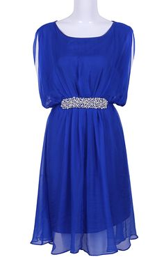 Blue Sleeveless Pearls Embellished Silk Dress - Sheinside.com