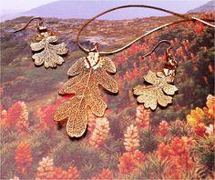 Real Oak Leaf Jewelry set, New Rose Gold Patina. $29.95, via Etsy.