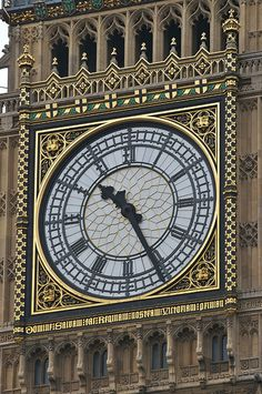 The Clock face on the Tower at the Palace of Westminster in London, England by Tsahizn Tseh Unusual Clocks, Father Time, Somewhere In Time, Time Stood Still, As Time Goes By, Old Clocks, Time Clock, Grandfather Clock, Art Deco Design