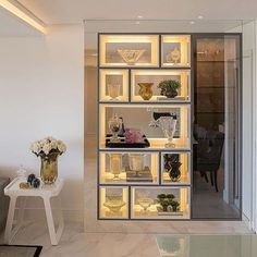 Home Sala Cristaleira Ideas Living Room Partition, Living Room Divider, Room Partition Designs, Living Room Decor, Room Divider Shelves, Modern Home Interior Design, Modern Decor, Modern Wall, Kitchen Interior