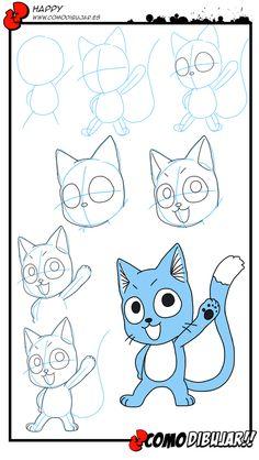 Como Dibujar a Happy de Fairy Tail:  http://www.comodibujar.es/estilo-manga-anime/como-dibujar-a-happy-gato-chib/