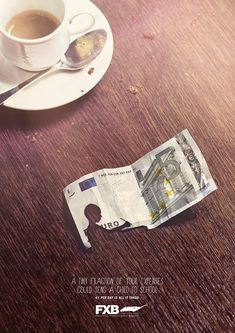 Association François-Xavier Bagnoud: Coffee A tiny fraction of your expenses could send a child to school. Advertising Agency: Publicis Conseil, France #ads #advertising #advertisement #marketing #poster #print #campaign #creative #creativity #association #child #children #coffee
