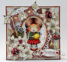 La-La Land Crafts - CHRISTMAS ORNAMENT MARCI ♥♥ by Silvie Z Image is colored with Copics: Clothes and shoes:  R89, 39, 37, 29, 24, 22; G29, 28, YG67, 63, 61 Ornament : E35, YR27, 24, 21, Y15, 11, 00 Hair: E29, 28, 17, 15, 13, 11 Skin: E13, 11, 01, 000, 0000; R22, 20