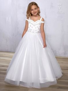 Simple Wedding Dress, Stunning Tulle Sweetheart Neckline A-line Flower Girl Dress With Beadings & Detachable Jacket, Shop fit and flare dresses that match your bridal style featuring the latests trends. Find the perfect one for you! Girls First Communion Dresses, Girls Pageant Dresses, Pageant Gowns, Birthday Dresses, Tulle Flower Girl, White Flower Girl Dresses, Little Girl Dresses, Flower Girls, Fit N Flare Dress