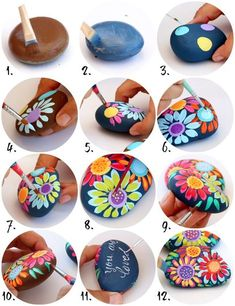 The are officially back and rock painting is at an all time high! Its time to grab some smooth stones (not from your neighbors yard).Arts And Crafts Light FixtureHow to make painted rocks – Artofit Rock Painting Patterns, Rock Painting Ideas Easy, Rock Painting Designs, Paint Designs, Rock Painting Supplies, Paint Ideas, Pebble Painting, Dot Painting, Pebble Art