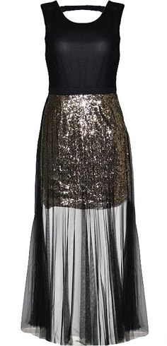 Veiled Galaxy Dress: Features a classic black bodice with banded waist for an instant slimming effect, sparkling gold sequin skirt, and a long black mesh veil surrounding the bottom to finish.