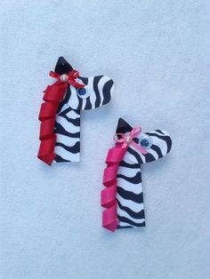 Sculpted Zebra Hair Clip in Hot Pink or Red by NanaSewCute on Etsy, $5.50