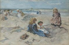 'Johannes Evert' Hendrik Akkeringa (Blinjoe (Nederlands-Indië) 1861-1942 Amersfoort) Een zomerse dag aan het strand - Kunsthandel Simonis en Buunk, Ede (Nederland).