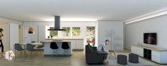 Vista 3D espacio abierto cocina-comedor-salón vivienda vacacional