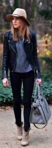 Black leather jacket & skinny jeans, charcoal marled sweater, taupe booties, grey handbag