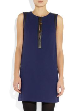 Maje|Leather-trimmed jersey mini dress|NET-A-PORTER.COM