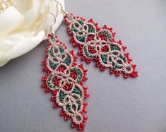 Items similar to tatting Lace Earrings Turquoise and silver beads, lace tatting turquoise silver beads, light earrings, handmade jewelry, frivolitè on Etsy Tatting Earrings, Tatting Jewelry, Lace Earrings, Lace Jewelry, Tatting Lace, Bridal Earrings, Crochet Earrings, Handmade Jewelry, Earrings Handmade