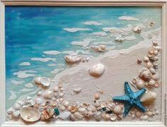 beach scene with seashells and Best images about Shells, Sea Glass, Pebbles, Driftwood .Sea shells art I love itPurchase Marine panel I need to go to the ocean … – turquoise …Buy Marine Panel I want the sea … – Biryu … - 5 minute D Seashell Art, Seashell Crafts, Beach Crafts, Crafts With Seashells, Sea Art, Sea Glass Art, Art Plage, Deco Marine, Mixed Media Canvas
