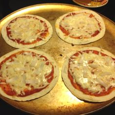 Easy & delicious pizza snacks  Preheat oven to 400.   What you will need: Tortillas,pizza sauce, cheese, & your choice of toppings.   I make my own pizza sauce.(15 oz tomato sauce, 6 oz tomato paste- mix until smooth, season with 1 tb. oregano, salt, pepper, garlic powder, & sugar to taste)   Cook for about 7 minutes or until it is cooked the way you like it.