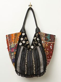 Black bag with scrap sides and button detail