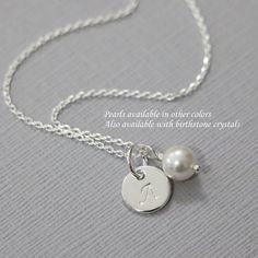 Custom Initial Necklace, Flower Girl Necklace, Everyday Necklace, Flower Girl Gift, Bridesmaid Gift, Gift for Her, Gift for Mom