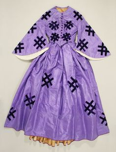 crazy color and pattern for the 1800s! //   Dress  Date: ca. 1861  Culture: American  Medium: silk