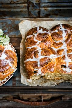 Hot Cross Cinnamon Buns – pillowy soft, studded with raisins and mixed peel, fragrant with spices and perfect for Easter!