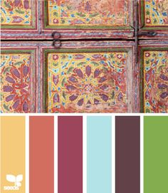 "antiquity hues - I think this compliments the ""Book Hues"" color palette from Design-Seeds. The eggplant is essentially toned up for this palette. Colour Pallette, Colour Schemes, Color Patterns, Color Combinations, Palette Design, Arte Fashion, Design Seeds, Colour Board, Color Swatches"