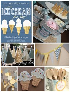 Ice cream birthday party! Perfect for a summer birthday. Could be even brighter with sherbert & a sherbert color theme!