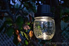 One of my favorite things to do is sit outside when it's dark and the sky is full of stars. These hanging mason jar solar lights are perfect for those nights wh…