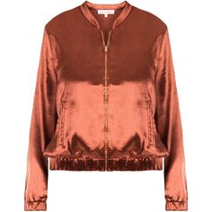 DASH Satin Bomber Jacket (89 CHF) ❤ liked on Polyvore featuring outerwear, jackets, flight jacket, slim fit flight jacket, flight bomber jacket, brown jacket and short-sleeve jackets