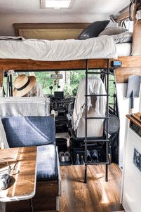 Camper Van Interiors That Could Replace A Tiny Home - Van- Life - Adventure Sprinter Camper, Camping Car Sprinter, Bus Living, Tiny House Living, Casas Trailer, Life Hacks, Kombi Home, Camper Van Conversion Diy, Diy Van Camper