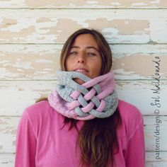 knit pattern Cowl neckwarmer Weave pdf - winter trendy cool UNISEX accessory PHOTO tutorial knitting pattern