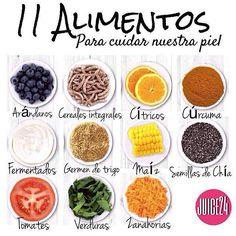 El buen estado de nuestra piel es un asunto importante. Te recomendamos consumir los siguientes alimentos para el cuidado de tu piel:  ARÁNDANOS Son ricos en unos antioxidantes por lo que contribuyen a mantener el correcto estado de la piel frente a los radicales libres.  CEREALES INTEGRALES Al tener mayor contenido de fibra que los refinados contribuyen a una correcta digestión.  CÍTRICOS La vitamina C presente en los cítricos verduras y frutas es necesaria para el crecimiento y reparación…