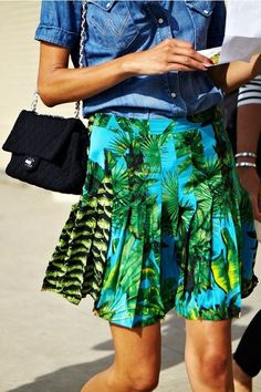 Stand out in a skirt like this - florals and greenery are so hot right now! #FashionWeek # florals