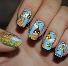 This...  Is EPIC.  -  Angry Birds Nail Art by ~MadamLuck on deviantART