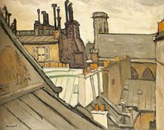 """mimbeau: """" Albert Marquet, Les toits de Paris, 1906 Albert Marquet March 1875 – 14 June was a French painter, associated with the Fauvist movement. He initially became one of the Fauve painters and a lifelong friend of Henri Matisse. Henri Matisse, Illustrations, Illustration Art, Rio Sena, Maurice Utrillo, Post Impressionism, Monet, Landscape Paintings, Landscapes"""