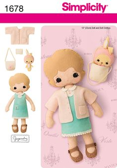 """Simplicity Creative Group - 13"""" Felt Doll, Clothes and Accessories"""