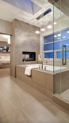 Bathroom interior design homes bathtub shower sink tile gay masculine decor Love it