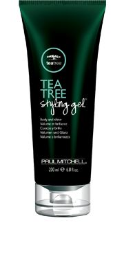 Tea Tree Styling Gel®  Body and Shine    Locks inyour style with shine, body and manageability. Flexible hold allows you to rework any style. Botanical ingredients leave hair smelling great.  Clean styling ingredients and conditioners  shape with loads of shine.  Tea tree oil, peppermint and lavender  invigorate the senses.  Versatile formula can be applied to wet  or dry hair.